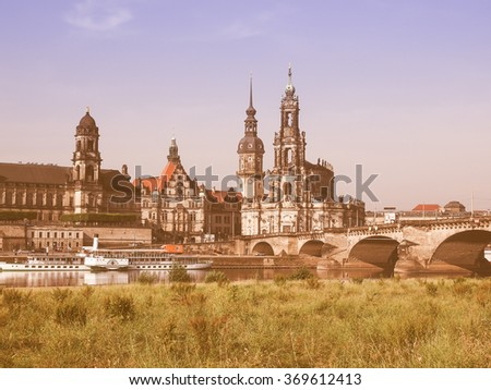 DRESDEN, GERMANY - JUNE 11, 2014: Dresden Cathedral of the Holy Trinity aka Hofkirche Kathedrale Sanctissimae Trinitatis vintage