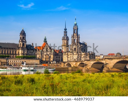 DRESDEN, GERMANY - JUNE 11, 2014: Dresden Cathedral of the Holy Trinity aka Hofkirche Kathedrale Sanctissimae Trinitatis (HDR)