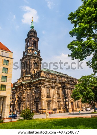 DRESDEN, GERMANY - JUNE 11, 2014: Kreuzkirche meaning Church of the Holy Cross is the largest church in Saxony (HDR)