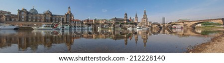 DRESDEN, GERMANY - JUNE 11, 2014: Panoramic view of the city of Dresden seen from River Elbe