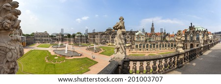 DRESDEN, GERMANY - JUNE 11, 2014: Panoramic view of Zwinger (Der Dresdner Zwinger), part of the historic heart of Dresden, rebuilt after the second world war is the most popular monument in city.