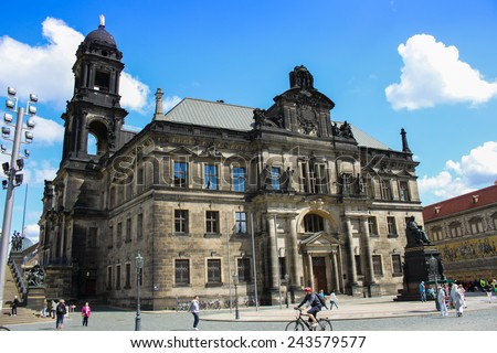DRESDEN, GERMANY - JUNE, 20th, 2014: St���¤ndehaus in Dresden, Germany with lot of people in front of it on 20th June 2014.