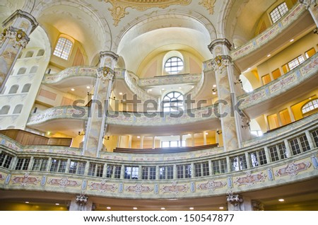 DRESDEN, GERMANY - JUNE 11: the interior of the Frauenkirche cathedral on June 11, 2013 in Dresden, Germany. Frauenkirche was completed in 1743 and is one of the most popular attractions in the city.