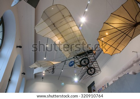 DRESDEN, GERMANY - MAY 2015: ancient flying machine with propeller in Dresden Transport Museum on May 25, 2015 in Dresden, Germany - stock photo