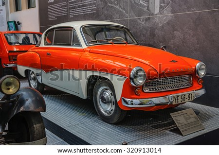 DRESDEN, GERMANY - MAY 2015: IFA Wartburg Type 311 300 Coupe 1960 in Dresden Transport Museum on May 25, 2015 in Dresden, Germany