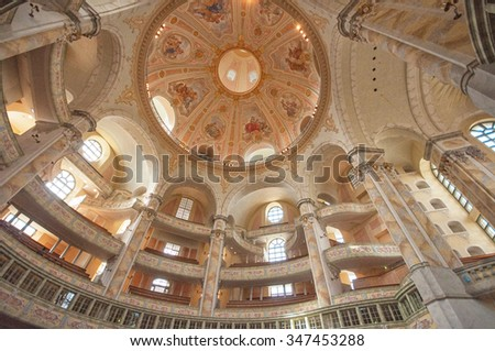 DRESDEN, GERMANY - 23 MAY, 2015: INterior of Church Frauenkirche on a sunny day with blue sky in Dresden, Germany on 23 May, 2015.