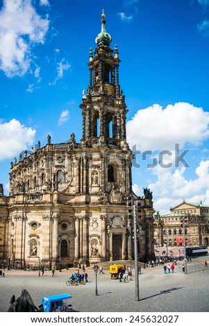 DRESDEN, GERMANY - MAY 12, 2013: The ancient city. Historical and cultural center of Europe. Cathedral of the Holy Trinity aka Hofkirche Kathedrale Sanctissimae Trinitatis