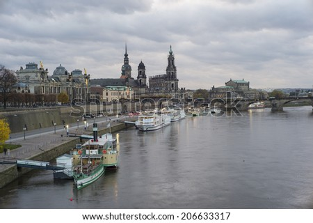 DRESDEN, GERMANY - NOV 4: The sunset view of architecture in Dresden, Germany on November 4, 2013. Dresden has a long history as the capital and royal residence for the Electors and Kings of Saxony.