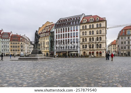 DRESDEN, GERMANY - NOVEMBER 10, 2014: Panoramic views of the Neumarkt Square. Neumarkt square is a central and culturally significant section of the Dresden inner city. - stock photo