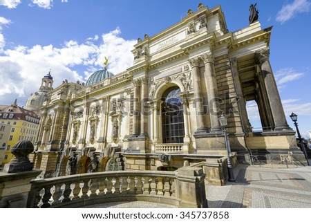 DRESDEN, GERMANY - SEPTEMBER 20, 2015: A part of the side view of The Dresden Academy of Fine Arts founded in 1764 located on the Bruehl's Terrace - stock photo