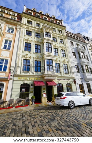 DRESDEN, GERMANY - SEPTEMBER 20, 2015: Five-Star Superior Hotel Suitess offers 21 elegant rooms and 4 apartments, luxurious atmosphere, location directly in the heart of the city - stock photo