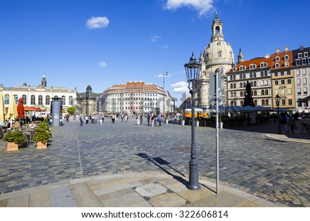 DRESDEN, GERMANY - SEPTEMBER 19, 2015: General view of the New Market Square (Neumarkt), the central and culturally significant section of the inner city, it is a place often visited by many tourists - stock photo
