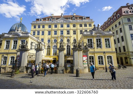 DRESDEN, GERMANY - SEPTEMBER 19, 2015: The Coselpalais originally built in the 18th century, destroyed in the World War II, was rebuild in 2000, nowadays known of excellent cuisine and a fine ballroom - stock photo