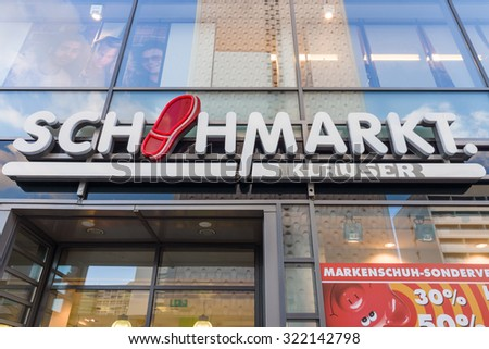 "DRESDEN, GERMANY - SEPTEMBER 09, 2015: The popular retail chain of footwear stores ""Schuhmarkt Klauser"". Schuhhaus Klauser, is one of the largest owner-operated shoe retailers in Germany."