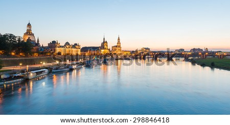 Dresden, Germany. September 23, 2014: View of the old town of Dresden with the Hofkirche, Staendehaus and the Elbe River