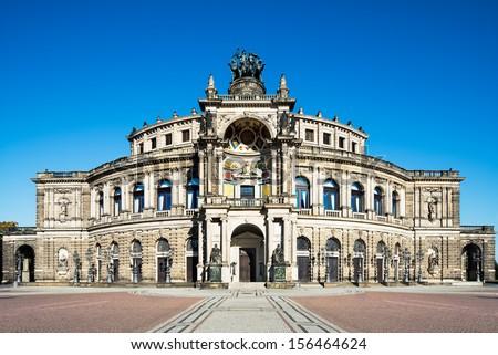 Dresden Opera house in broad daylight - stock photo