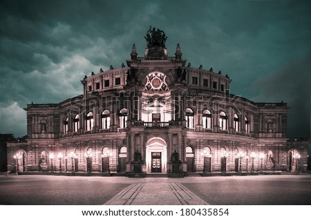 Dresden Opera Theatre, tinted photo on aged paper  - stock photo