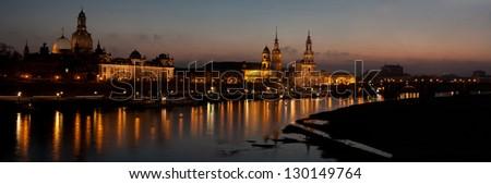 Dresden panorama by night - stock photo