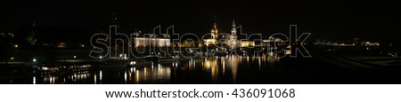 Dresden panorama image of the historic buildings on the Elbe River at night
