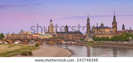Dresden. Panoramic image of Dresden during summer sunset.  - stock photo