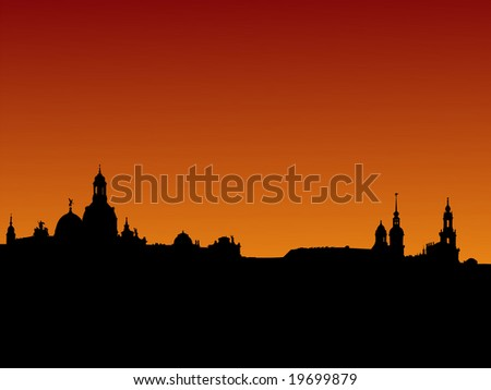 Dresden skyline with church domes at sunset illustration JPG