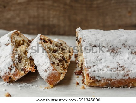 Dresden Stollen (german Christmas cake) sliced
