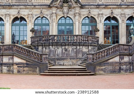 Dresden Zwinger palace stairs and facade, Germany  - stock photo