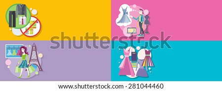 Dress code for the celebrations. Beautiful woman with lot of shopping bags. Lifestyle shopping tours. Fashion designer working on his design. Modern elegant dresses for fashion design. Raster version - stock photo