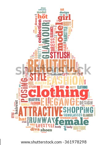 Dress fashion, word cloud concept on white background.