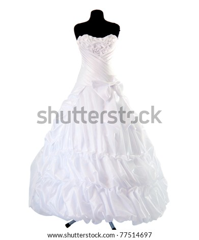dress on a mannequin on a white background - stock photo