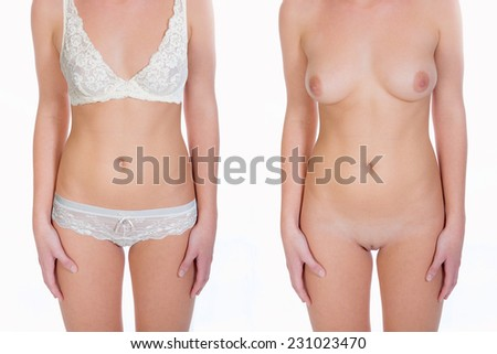 Dressed and undressed female torso, beauty concept, isolated on white background  - stock photo