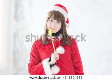 dressed as Santa Claus woman,Japanese