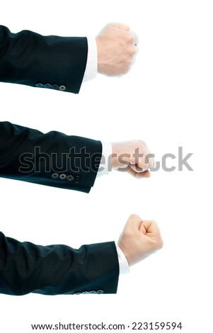 Dressed in a business suit caucasian male hand gesture of a clenched fist, high-key light composition isolated over the white background, set of three images