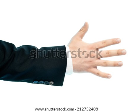 Dressed in a business suit caucasian male hand gesture of a number five sign, high-key light composition isolated over the white background
