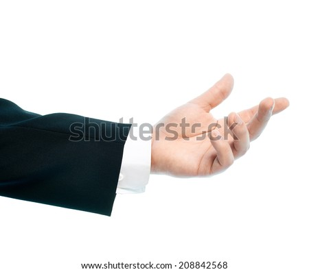 Dressed in a business suit caucasian male hand gesture of asking for the help, high-key light composition isolated over the white background - stock photo
