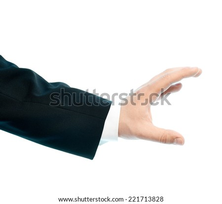 Dressed in a business suit caucasian male hand gesture of holding something, high-key light composition isolated over the white background - stock photo