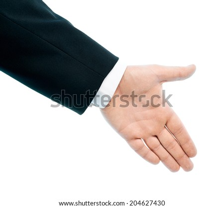 Dressed in a business suit caucasian male hand gesture sign of a handshake, high-key light composition isolated over the white background - stock photo