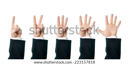 Dressed in a business suit caucasian male hand number gestures, set of images from one to five, high-key light composition isolated over the white background - stock photo