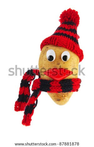 Dressed potato head for cold weather