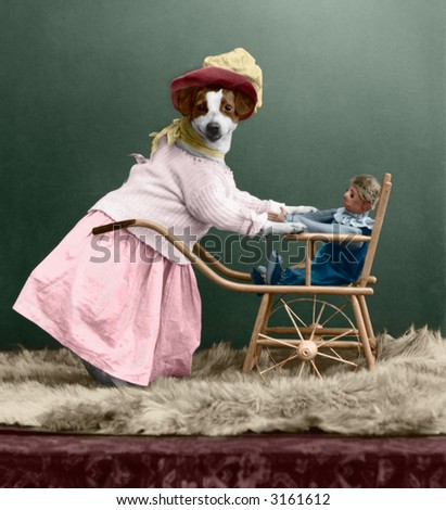 dressed-up dog with doll - circa 1909 vintage hand-tinted photo - stock photo