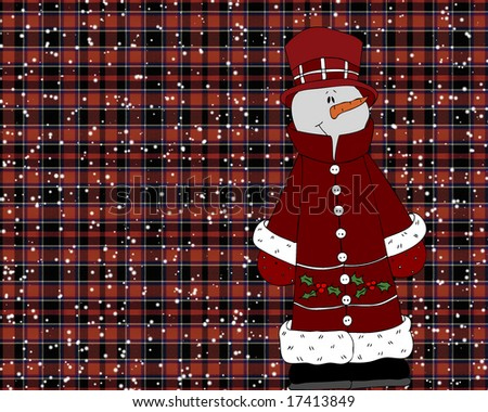 Dressed up Snowman on plaid background