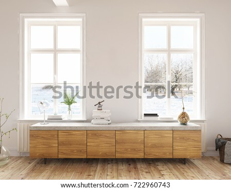 Dresser In The Living Room   Interior Design   3 D Render Using 3 D S Max