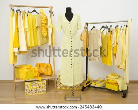Dressing closet with yellow clothes arranged on hangers and an outfit on a mannequin. Wardrobe full of all shades of yellow clothes, shoes and accessories. - stock photo