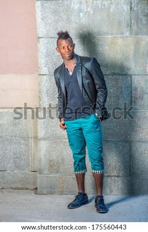 Dressing Black Blazer Green Pants Leather Stock Photo 175560443 ...