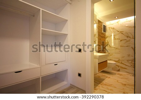 Dressing Room and the Bathroom - stock photo