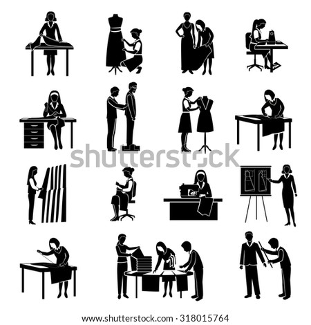 Dressmaker black icons set with tailor and fashion designer with customers isolated  illustration