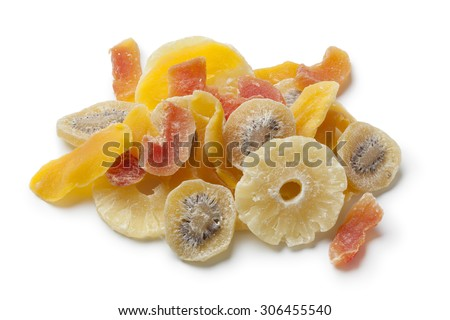 Dried and candied fruit on white background - stock photo
