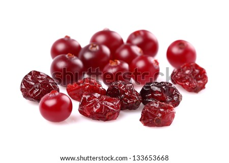 Dried and fresh cranberries - stock photo