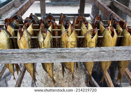 dried and smoked herring dish dutch netherlands - stock photo