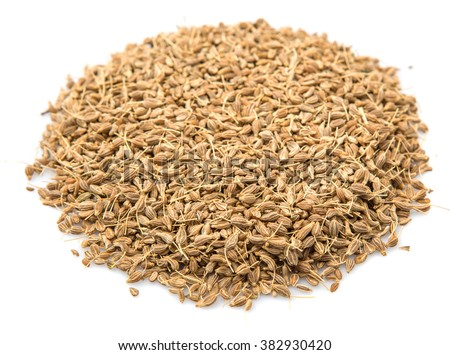 Dried anise seed or aniseed over white background - stock photo